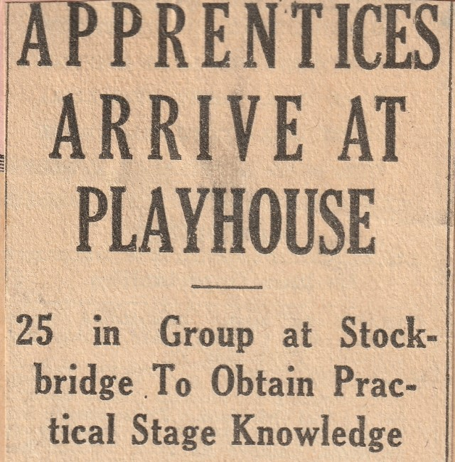 A headline from the Berkshire Eagle on June 24, 1933 announces the arrival of new Berkshire Playhouse apprentices.