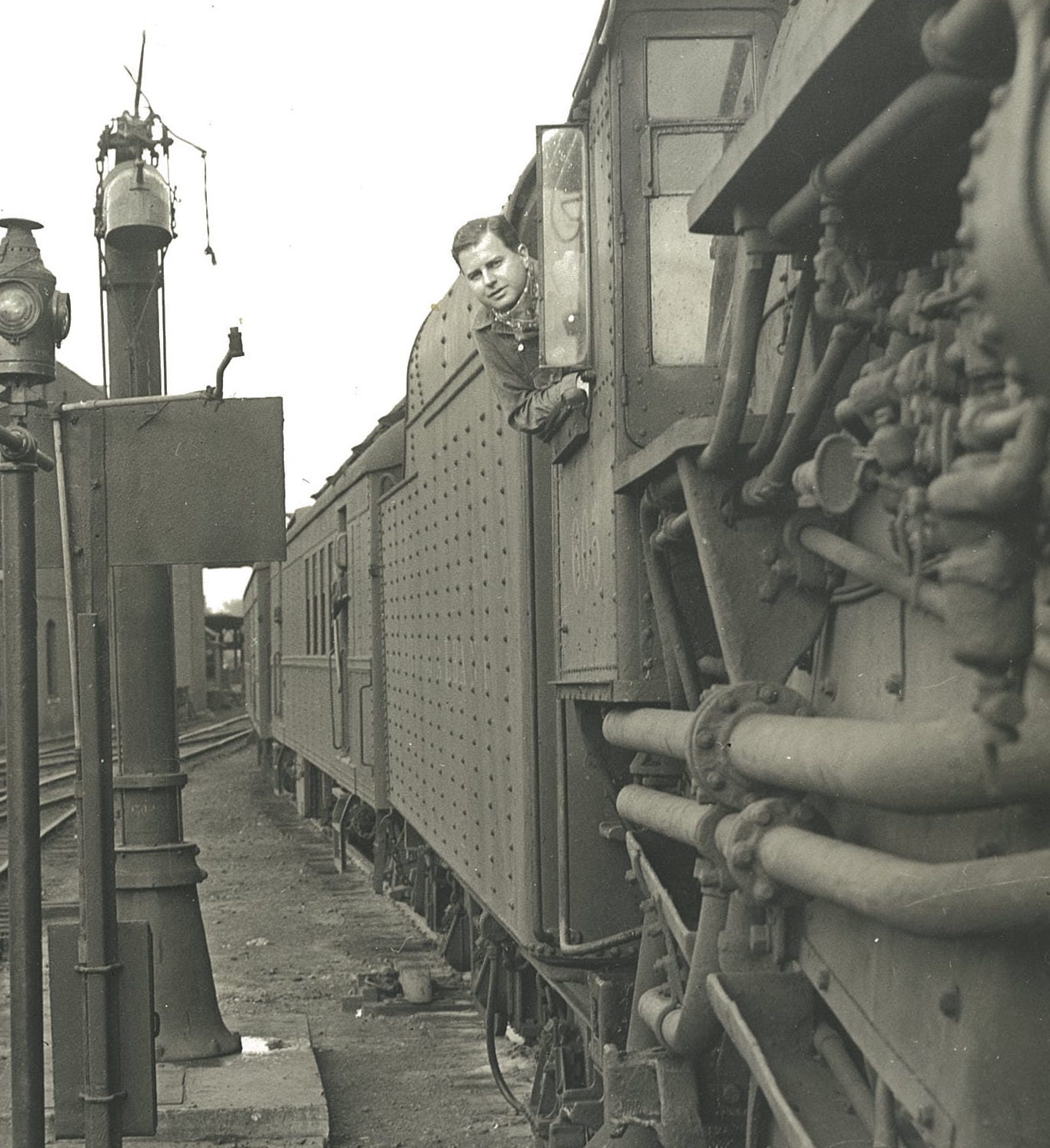 Billy Miles on a train, photo from the BTF archives.