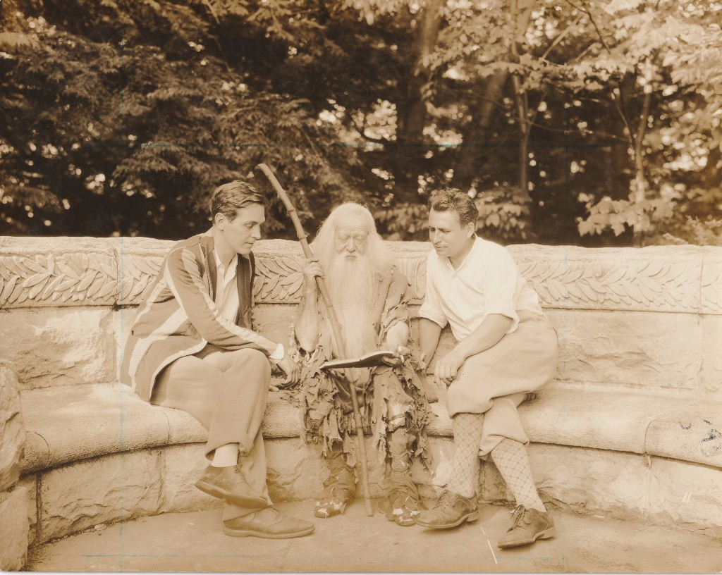 (L to R): Alexander Kirkland, Donald Meek, and F. Cowles Strickland in rehearsal for Rip Van Winkle, 1929.