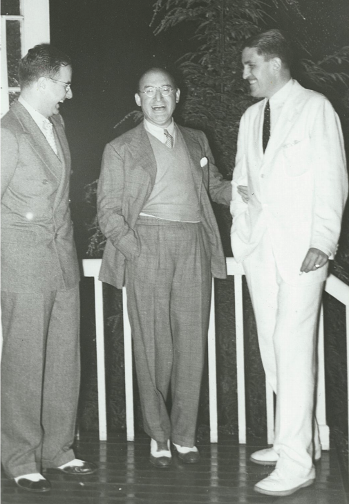 Left to Right: Billy Miles, S.N. Behrman, and Sidney Howard at the Opening of Declasse with Ethel Barrymore, 1935.
