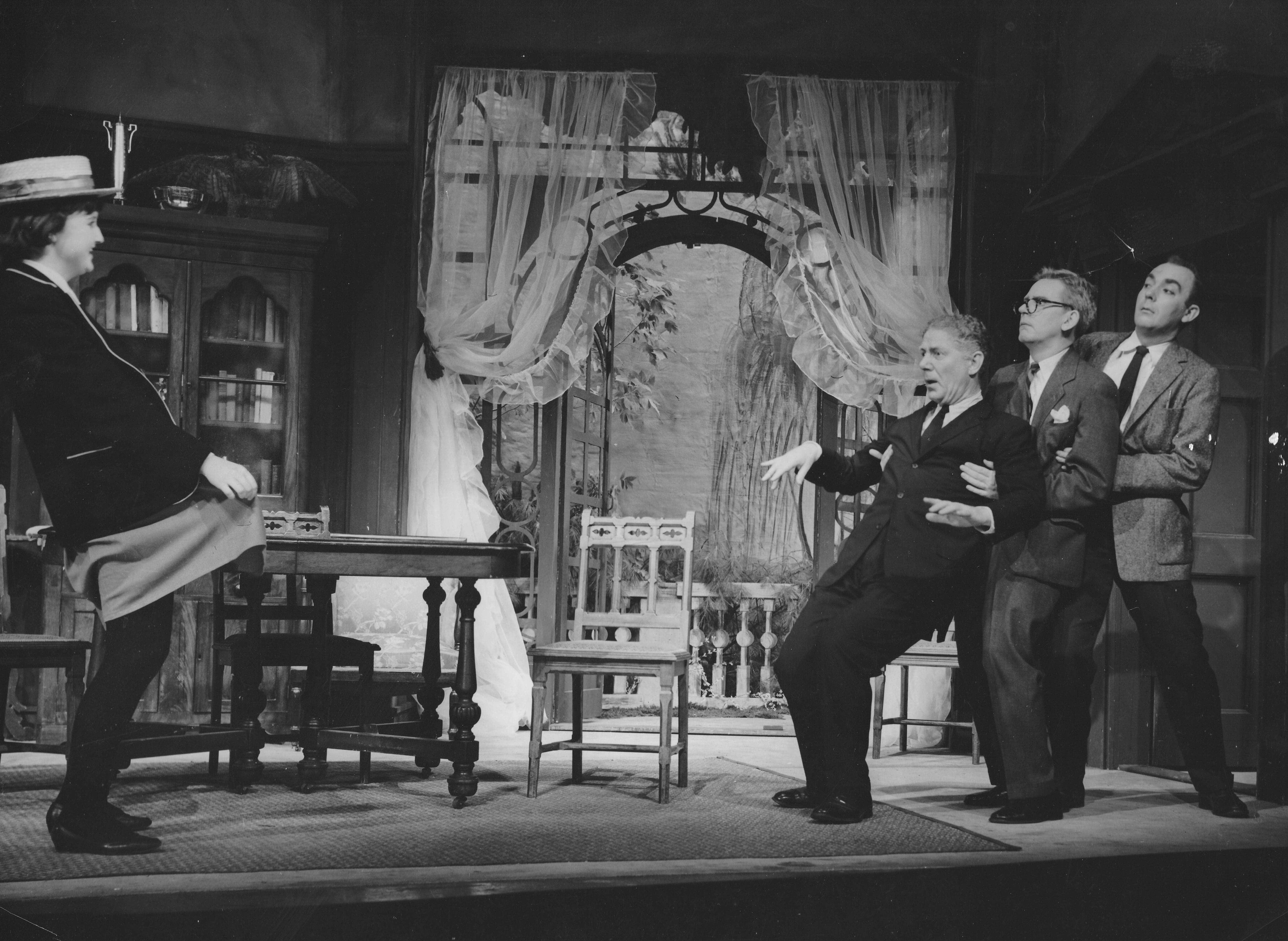 Judy White, Paul Ballantyne, David Vaughan, and George Vogel in The Happiest Days of Your Life at Berkshire Theatre, 1960.