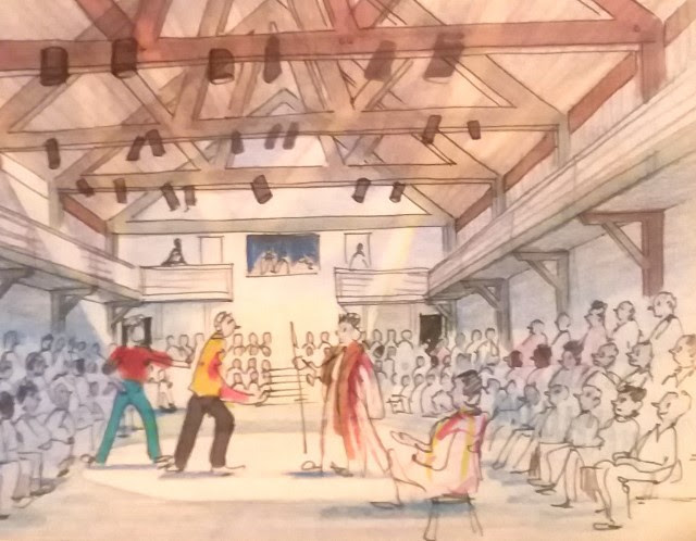 Watercolor of the Unicorn Theatre (before its 1990s renovation) by an unknown artist from the BTF archives.