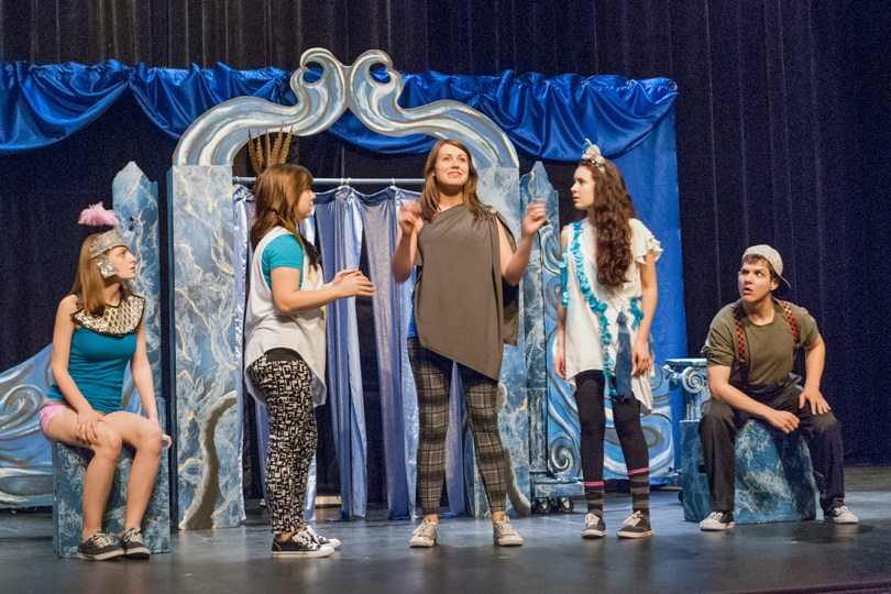 Caroline Fairweather, Kelly Lamanna, Hayley Barnes, Emma Foley, and Rylan Morsbach in BTG PLAYS! 2014-15 touring show <em>Atlantis, Lost!</em>. Photo by Christina Riley