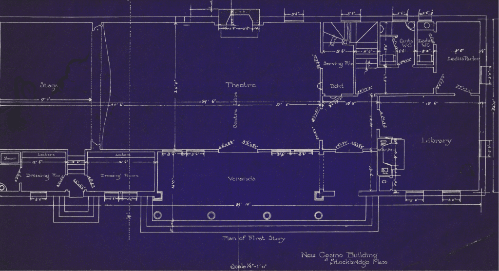 Blueprints of the first floor of the Stockbridge Casino show the theatre, stage, locker rooms, a library, water closets, a ladie's parlor room, and the veranda.