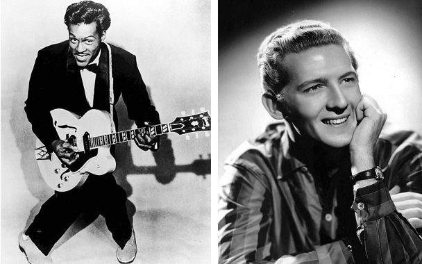 There are two photographs side by side. The leftmost photo shows Chuck Berry posing with his guitar. The photo on the right is a headshot of Jerry Lee Lewis. He is resting his head on his hand and wearing a striped button up shirt.