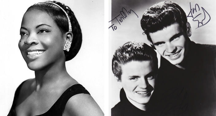 There are two photos side by side. The photo on the left is a headshot of LaVern Baker. She is facing the camera at an angle and is wearing a black dress, shiny earrings, and a headband. She has a radiant smile on her face. The photo on the right is of The Everly Brothers. They are posing together, both in dark shirts and facing the camera. They are both smiling, one is significantly taller than the other.