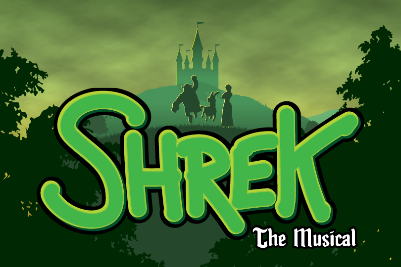 Shrek The Musical artwork, featuring Shrek, Donkey and Fiona.