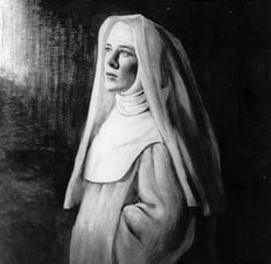Eva Le Gallienne dressed in costume as a nun, looking contemplative.