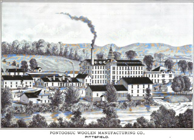 Sketch of the mills of the Pontoosuc Woolen Manufacturing Company showing a front view of the complex with smoke pouring from the stack.