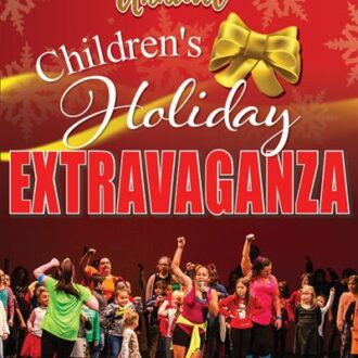 Poster for the Sixth Annual Children's Holiday Extravaganza featuring an image from 2019's Extravaganza of children performing together in a dance on stage.