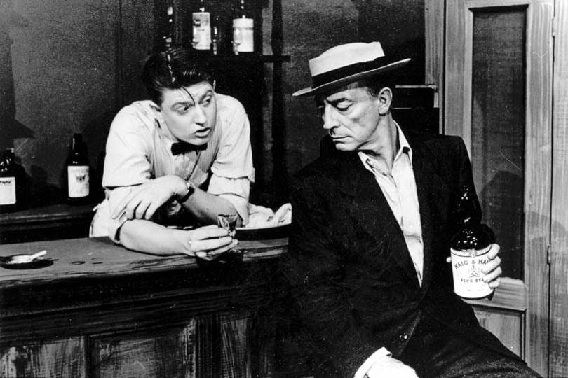 Frank Buxton and Buster Keaton in <i>Three Men on a Horse</i>, 1949.