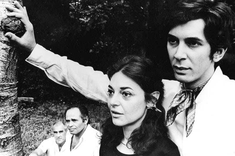 William Gibson, unknown actor, Anne Bancroft and Frank Langella in <i>A Cry of Players</i>, 1968.