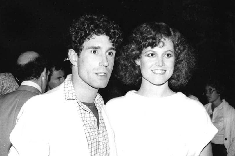 John Shea and Sigourney Weaver at the opening night party for <i>Animal Kingdom</i>, 1982.