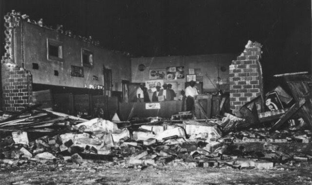 An image of the destruction of the church after the bombing, there is debris scattered everywhere